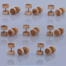 8 Pairs Natural Wood Fake Illusion Ear Plugs Earrings Studs Natural Organic Retro Screw Fake Cheater Ear Piercing 8MM Big Sale