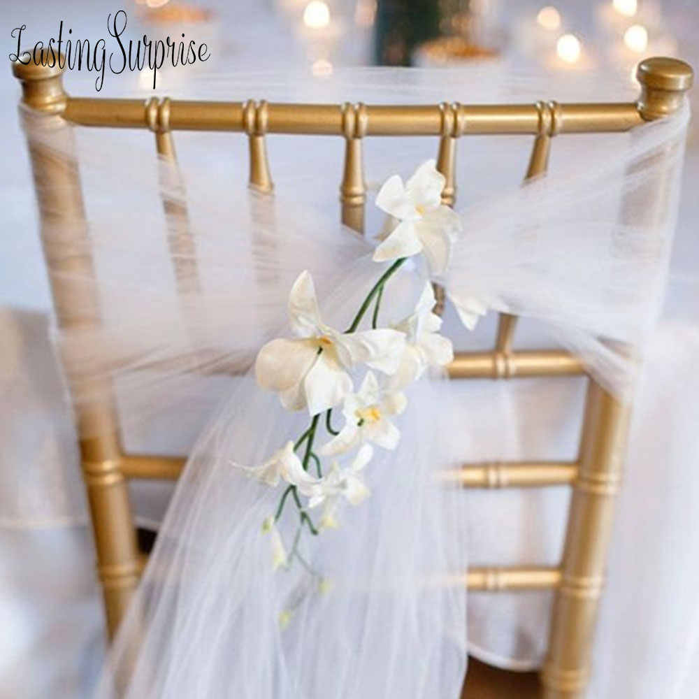 50pc 18cm275cm Organza Wedding Chair Sash Sashes Bow Tulle Cover Table Runners Banquet Party Decoration DIY Craft
