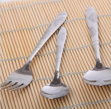 3pcs/lot  S/Steel Portable Outdoor Camping Picnic Dinnerware Fork Spoon Dinner Set 1pc fork + 2pcs spoon Flatware KC 1417