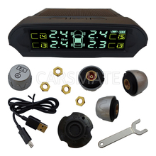 Universal Solar Energy Car TPMS With 4 External Sensors & Support Bar & Psi & Display Lightness Auto-Adjust