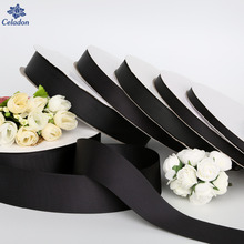 5Yards/lot Width 7mm/10mm/15mm/20mm/25mm/38mm Black Ribbon Grosgrain Ribbon Roll Packing For DIY Handmade Hair Bow & Sewing(China)