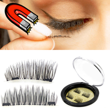 3D Magnetic False Eyelashes Extension 4PCS/1Pair Natural Double Magnets False Eyelash Party Fake Lashes Makeup Cilos Posticos