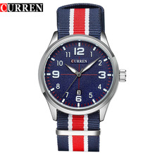 Curren Men Watch 8195 Top Brand Luxury Nylon Strap Wristwatch Men's Quartz Sports Watches Men Clock Relogio Masculino Best Gift