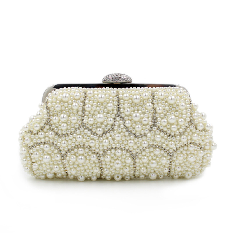 Beaded women evening bags rose imitation pearl women clutch evening bags with chain shoulder small purse handbags for wedding<br>
