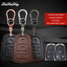 4&5 Button Smart Key Cover Case For Cadillac CTS Escalade SRX ATS STS XTS Car Logo Keychain Top Layer Leather Key Cover Holder