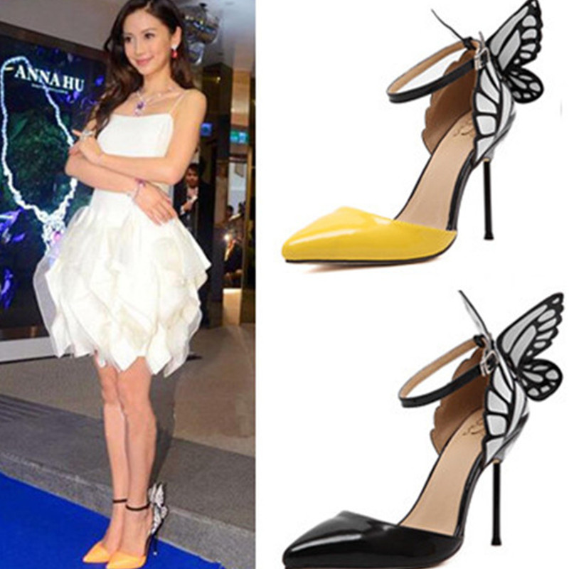 Big Size Shoes Women 2017 Spring Autumn Butterfly high heel Pumps pointed toe stilettos Buckle Ladies Pumps Shoes Black/yellow<br><br>Aliexpress