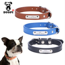 Personalized Leather Dog Collars Custom Cat Dogs Name Phone ID Collar Free Engraving Metal Buckle for small Medium dogs(China)
