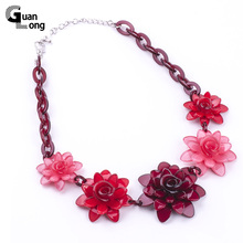 2017 Spring New Collection Fashion Resin Flower Necklaces & Pendants For Young Girl Gift Jewelry 7 Colors