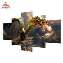 Artryst brand 5 wall art canvas painting with frame take off the dragon picture HD print for the living room home decor AR152(China)