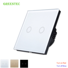 Intelligent waterproof wall switch, Touch Switch, The LED indicator, white glass panel, 170 ~ 250 v, the 2 - gang/eu standards