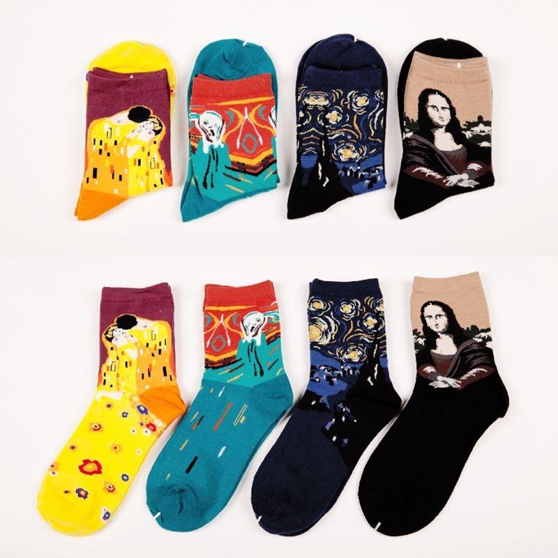 1Pair Fashion Retro Women Men Painting Mona Lisa Art  Socks Funny Novelty Starry Night Comfortable Breathable Socks