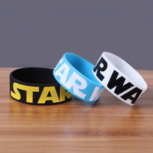 Wholesale 30PCS/Lot Star Wars Silicone Wristband 3colors black white and blue rubber bangle Wide band with casual style for fans