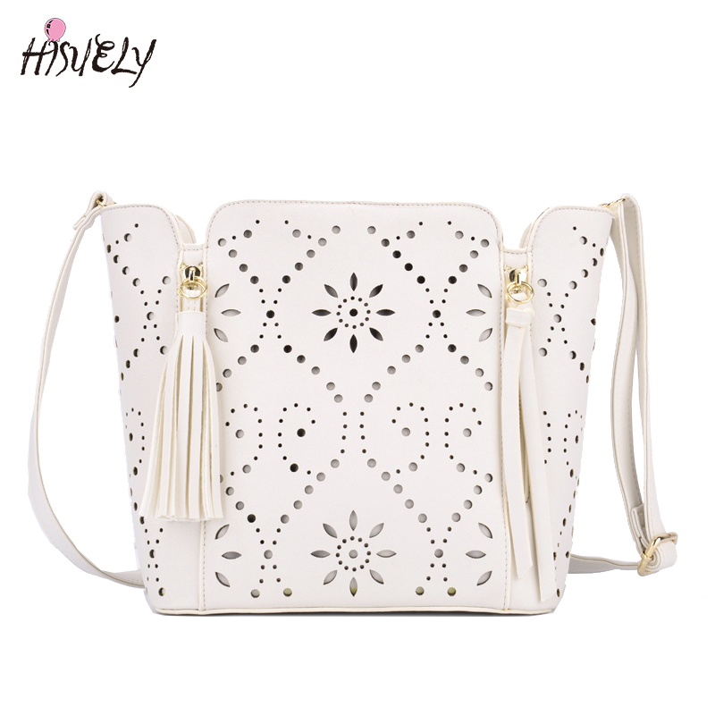 2017 New Summer Womens Handbag Cutout Flower Tassel Shoulder Crossbody Bag Fashion Messenger Bag For Ladies White<br>