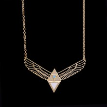 Handmade Natural Stone Eagle Shaped Pendant Gold Color Link Chain Necklace For Women Jewelry