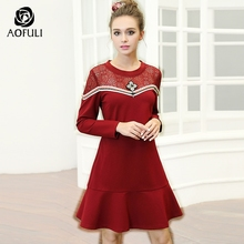 AOFULI M- 4XL 5XL Ladies Hollow Out Lace Up Ruffed Dress 2017 Fashion Autumn Winter Red Dress Big Size A-line Vestidos 6171(China)