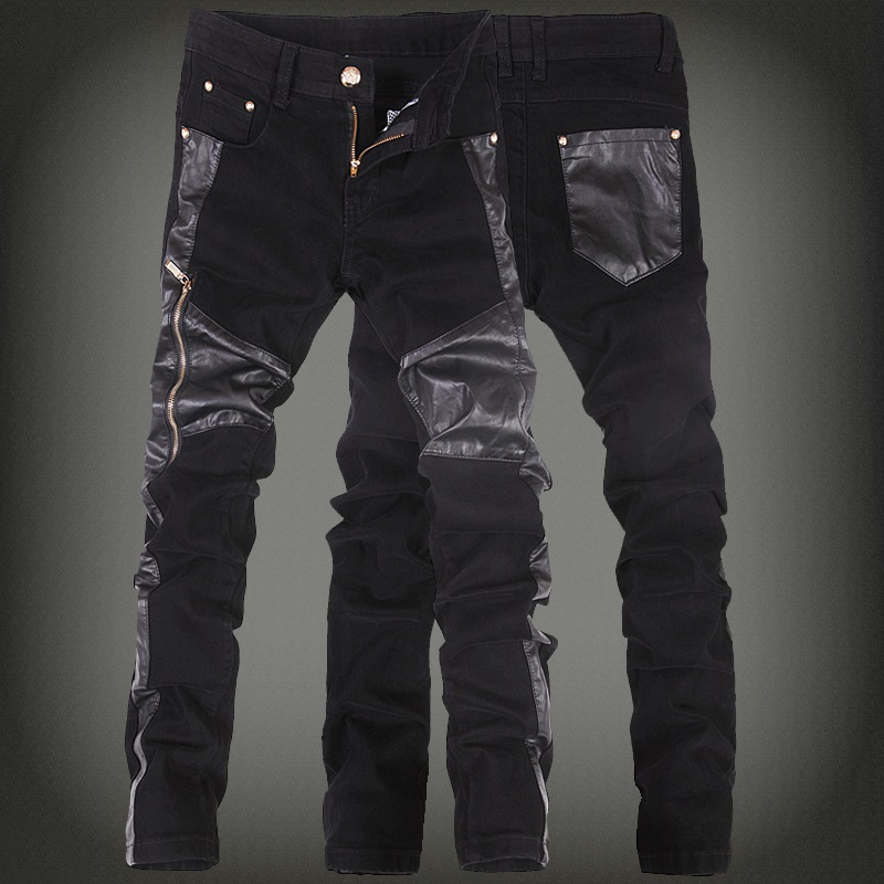 2017 new fashion men faux leather jeans pant mens skinny leather denim pants male jeans pants 28-36 (small size) free shippingÎäåæäà è àêñåññóàðû<br><br>