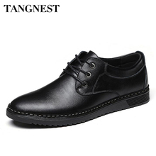 Tangnest Man's Solid Patchwork Business Shoes Men Handmade PU Leather Shoes Men Classic Casual Lace Up Formal Footwear XMP674