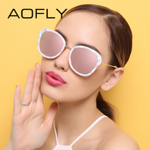 AOFLY Original Brand Sunglasses Fashion Women Oval Sunglasses Coating Mirrored Lens Alloy Temple Female Sun glasses UV400 AF7999