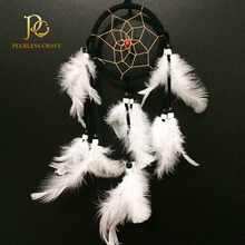 9cm New Black Dream Catcher with White Feathers Hanging Decoration Craft Gift Wall Hanging Decoration Ornament 12""