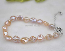 GORGEOUS Natural color 8.5-9*9-11mm keshi pearl bracelet free shipping