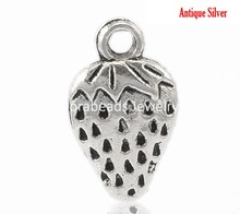 "DoreenBeads 40PCs Antique Silver Strawberry Fruit Charm Pendants 17x10mm(5/8""x3/8"") (B21974), yiwu"