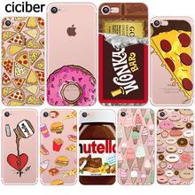 Food Donuts Chocolate Ice Cream Pattern Cartoon Funny Soft Silicone TPU Mobile Phone Case for Apple iphone 5S 6s 6 7 plus 5 SE