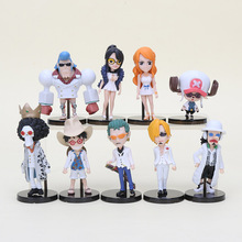 9pcs/set Anime One Piece Film Gold White Suit Luffy Franky Sanji Usopp Chopper Nami Zoro PVC Action Figure Collection Model Toy(China)