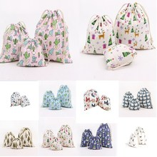 1pcs Cactus Tree Pattern Drawstring Cotton Linen Storage Bag Sunglass Jewelry Organizer Makeup Cosmetic Coins keys Bags 49042