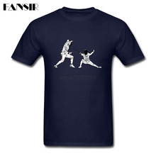 Men T Shirts Plain Short Sleeve O Neck T-shirts Male Fencer Fencing Adult Clothes Tops(China)