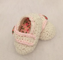 vintage rose crochet baby mary jane booties cream pink shoes hand made beautiful shoe for spring  and summer