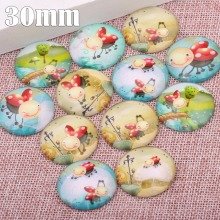 onwear 20pcs mix ladybug photo round glass cabochon 30mm diy handmade flatback jewelry findings for pendant necklace making(China)