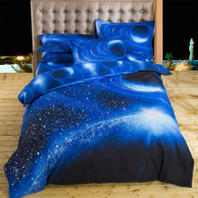 2017 3D Bedding Sets Universe Outer Space Blue Galaxy New 4/3pcs Quilt Duvet Cover Bed Sheet Sell Pillowcase Twin Queen XK003(China)