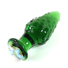 New green glass anal plug glass dildos with Particles dilatador anal glass plug g spot massage buttplug sex toys for couples(China)