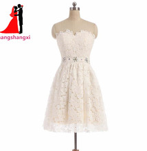 2017 Cheap Ivory Short Prom Dresses Off Shoulder Lace Mini A Line Plus Size Party Homecoming Dress For Girls Vestidos De Festa(China)