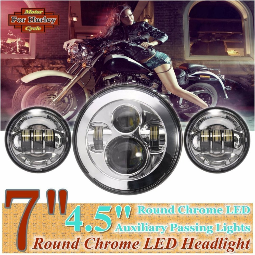 7 Chrome harley Daymaker LED Headlight Auxiliary Lamp LED Light Bulb + 4.5 LED fog light DRL Headlamp for Harley Motorcycle<br><br>Aliexpress