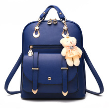 Women backpack High Quality PU leather backpacks for teenage girls Korean Style Backpacks With Cute Bear notebook space Ita bag