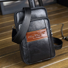 Genuine Leather Men Single Shoulder Bag Vintage Small Messenger Bags Hip Bum Cell Phone Case Belt Purse Hook Fanny Waist Pack(China)