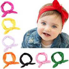2017 Hot Sale Cute Kids Girls Rabbit Bow Ear Hairband Headband Turban Knot Head Wraps  causual party wear Christmas Lucky #520