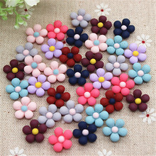 50PCS Mix Colors 13mm Cute Vintage Resin Five-Petal Flowers Flatback Cabochon Embellishment Accessories DIY Craft Scrapbooking