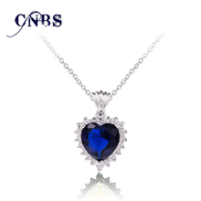 The Heart of Ocean Austrian Blue CZ Crystal For women Pendant & Necklace white  N10015