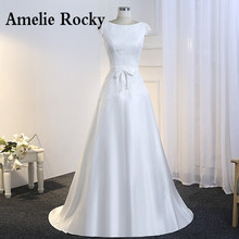 Buy Vestido De Noiva Simples Lace Satin Wedding Dress 2018 Cheap Bride Dress Illusion Back Floor Length Robes De Mariage for $92.29 in AliExpress store