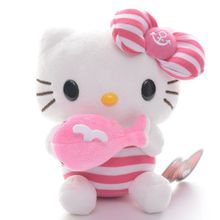 Cute Navy Blue Pink Hello Kitty with Dolphin Cat Collection Plush Collectible Anime Toy Doll 8'' Best Gifts for Kids Girls(China)