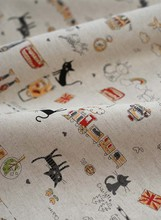 96x140cm zakka linen black cat printed fabric for patchwork / vintage cartoon textile fabric for DIY sewing Home Decoration