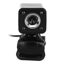 1080P 800W 4 LED HD Webcam Camera + USB 2.0 Microphone for Computer PC Laptop Black