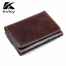 KVKY Vintage Men Wallet Fashion RFID Credit Card Holder Genuine Leather Wallet Small Men's Wallet Retro Casual Short Coin Purse(China)