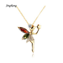 2017 JingRong Brand Necklace Female Gifts Hot Selling Flying Angel Pendants Lady's Gifts Crystal Necklace female short Payment