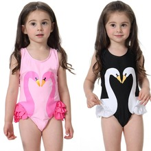 Kids Baby Girl Swim wear dress 2017 Swan Flamingo Printed Swimsuits One Piece Children Summer Swimming Sunsuit girls beach dress
