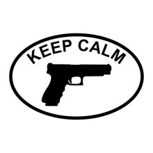 14CM*9.1CM Keep Calm Pro Gun White Car Truck Auto Vinyl Decal Sticker Car Accessories Motorcycle Stylings Black/Sliver C8-0309