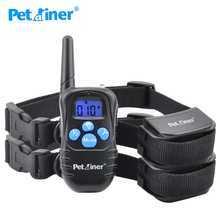 Petrainer 998DRB-2 Remote Control Dog Collar Silicone Button Electric Pet Training Collar Electric Shock Dog Collar For 2 Dogs(China)