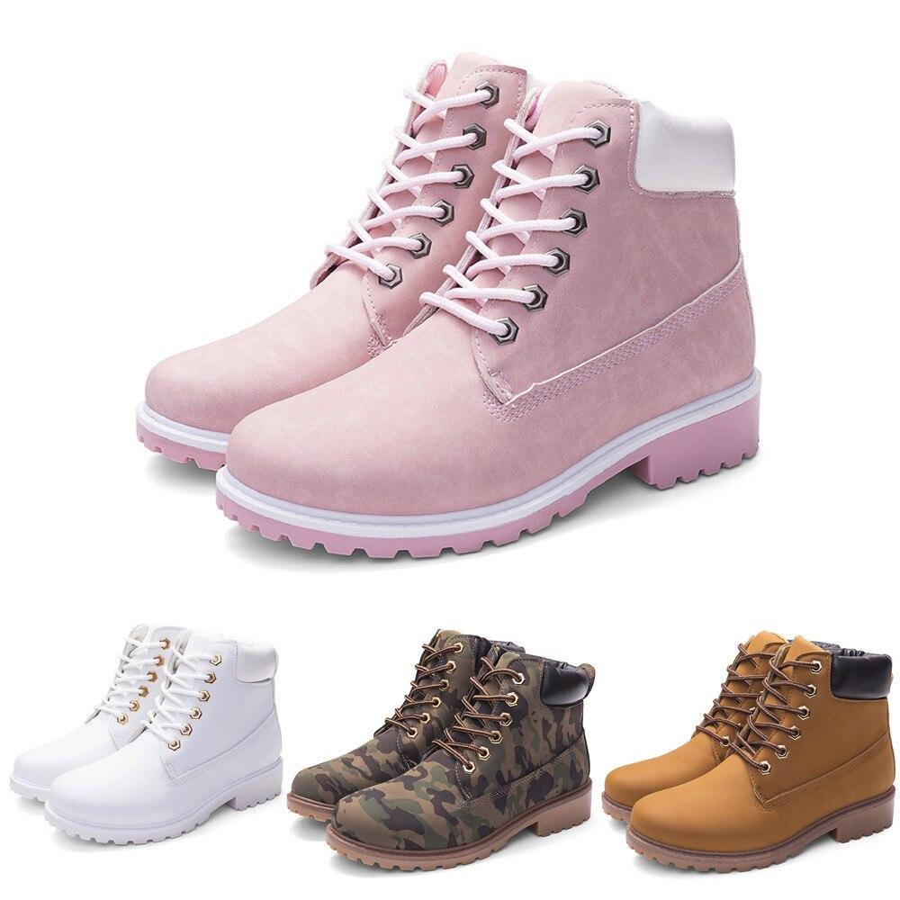 Szyadeou Women Ladies Round Toe Lace-up Faux Boots Ankle Casual Martin Shoes botas mujer invierno kozaki damskie schoenen 30 7
